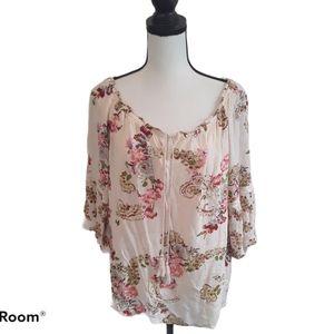 4/$25 Bila Floral Boho Blouse
